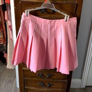 Pink high waist tennis skirt